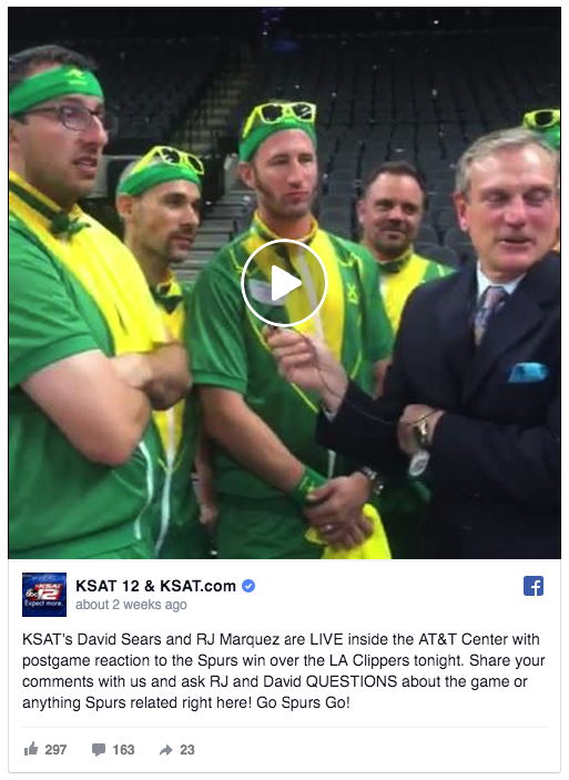 KSAT-TV's sports team goes live on Facebook after San Antonio Spurs home games to talk about the game and with fans.
