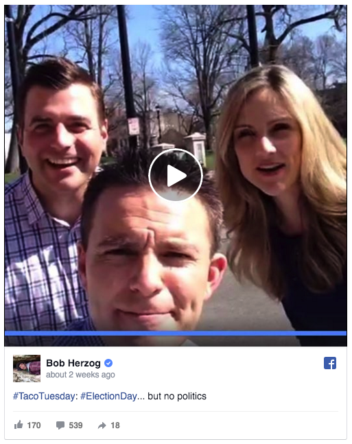 Bob Herzog (often joined by coanchors Adam Clements and Jen Dalton), of WKRC-TV in Cincinnati, goes live on Facebook to chat with viewers every Tuesday!