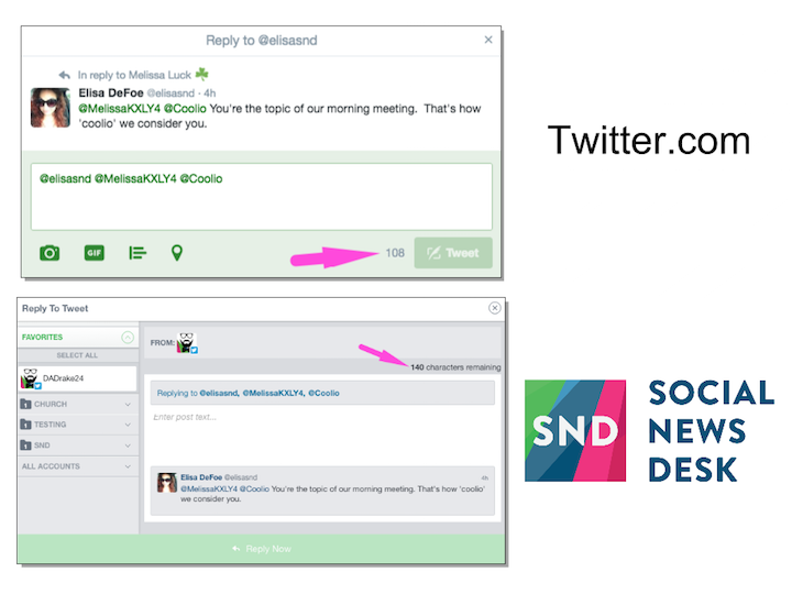 SND Dashboard allows for more characters in replies than Twitter's native platform.