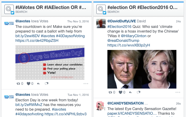 A Twitter feed of market specific hashtags next to a feed of national election hashtags
